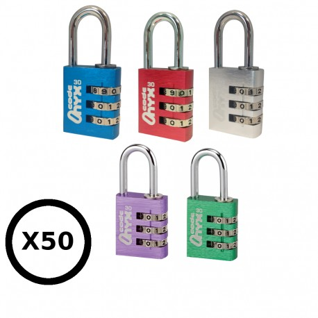 Lot de 50 cadenas à combinaisons 3 molettes, cadenas bleu