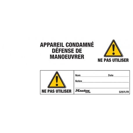 """Étiquette de consignation Master Lock s297lfr """"Appareil condamné défense de manoeuvrer"""""""