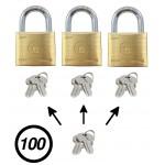 Lot de 100 cadenas vestiaires avec clé passe partout