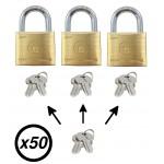 Lot de 50 cadenas laiton avec clé passe, lot cadenas france-cadenas