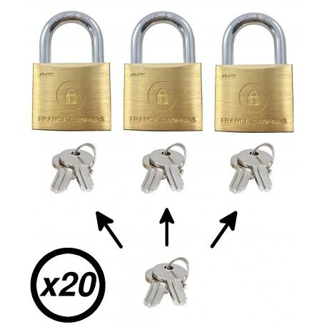 Lot de 20 cadenas france-cadenas à clé passe partout, 40 mk 20
