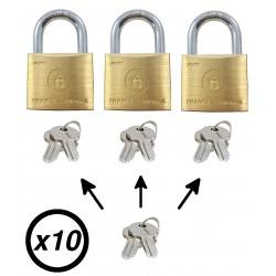 Lot de 10 cadenas 40mm avec clé passe partout