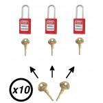 Lot de cadenas de consignation électrique Master Lock S31 avec clé passe