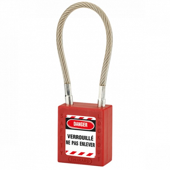 Cadenas à câble de consignation THIRARD 05624 rouge