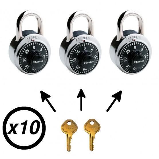 Lot de 10 cadenas Master Lock 1525 avec clé passe