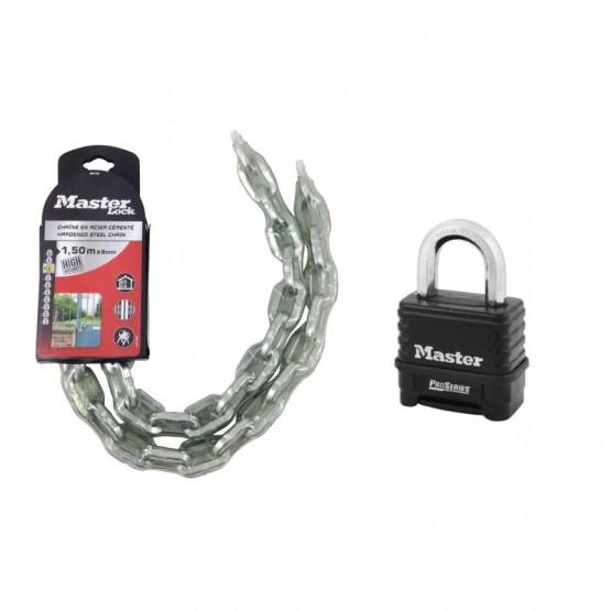 Ensemble Cadenas Master Lock Pro Series 1178D + Chaîne Master Lock 8017EURD