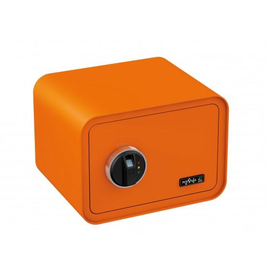 Coffre-fort de couleur BASI MySafe 350 à empreinte digitale orange