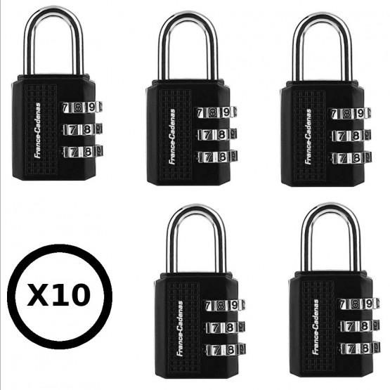 Lot de 10 cadenas à combinaison 3 molettes ranger france-cadenas