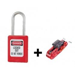 Kit individuel de consignation électrique: cadenas + crochet disjoncteur
